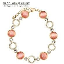 Neoglory Австрия Стразы светильник желтое золото цвет опал цепи бусины браслеты и браслеты для женщин бренд ювелирные изделия тренд