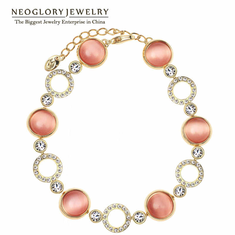 Neoglory Austria Rhinestone Light Yellow Gold Color Opal Chain Beads Bangles & Bracelets For Women Brand Jewelry 2018 New Trendy