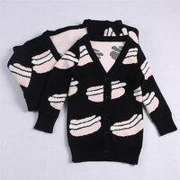 Gia đình phù hợp với trang phục mùa xuân Áo Len Trẻ Em của bánh hamburger in quần áo bé trai cô gái mẹ bông dệt kim top chất lượng Tốt