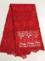 Beaded Red Eyelash Cotton Lace Fabric French Cord Lace Cloth Nigerian African Guipure Lace For Party