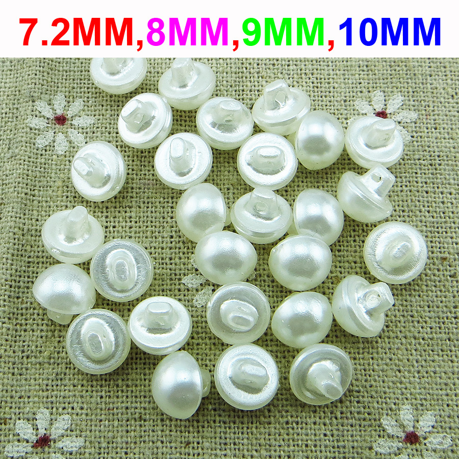 NEW 15 PC  PKG.1  INCH OFF WHITE// NATURAL PEARL FINISH CONCAVE TOP 2 HOLE