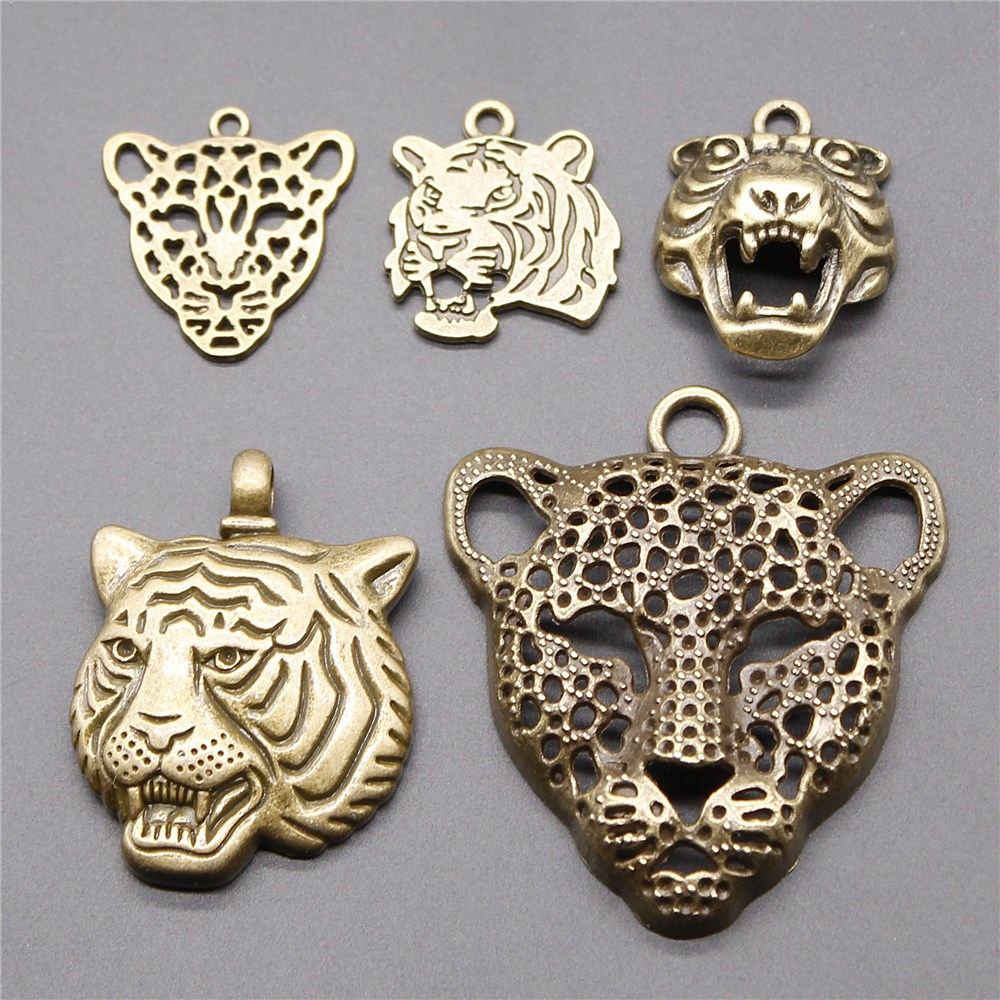 4pcs Charm Leopard Tiger Antique Bronze Color Tiger Pendants For Jewelry Tiger Head Charm DIY Findings