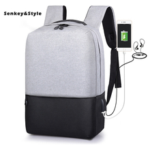 цена Senkey Style New Oxford Backpack Casual Male Student Bag USB Charging Back pack Man Waterproof Travel Packbag Mochila Masculina онлайн в 2017 году