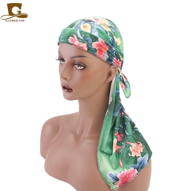 NEW Textile Velvet Print Floral Durag Long Tail Wide Straps du rag Bandanas doo Turban Headband Flower Hair Accessories