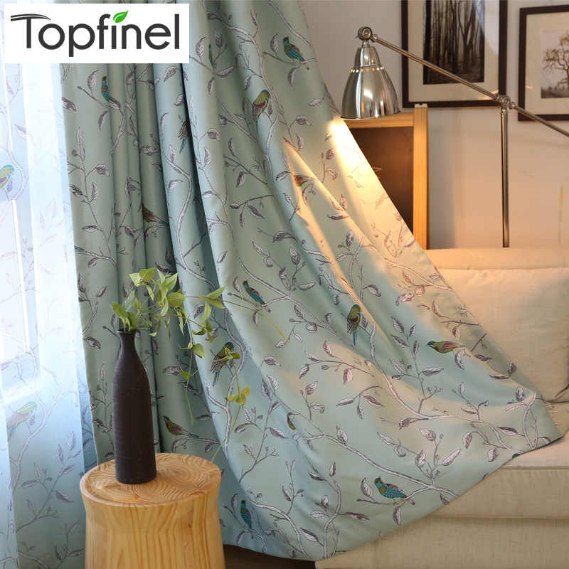 Birds Pattern Blackout Curtains for Living Room Bedroom Decorative Kichen Door Curtain Drapes Fabric Teal Green & Beige