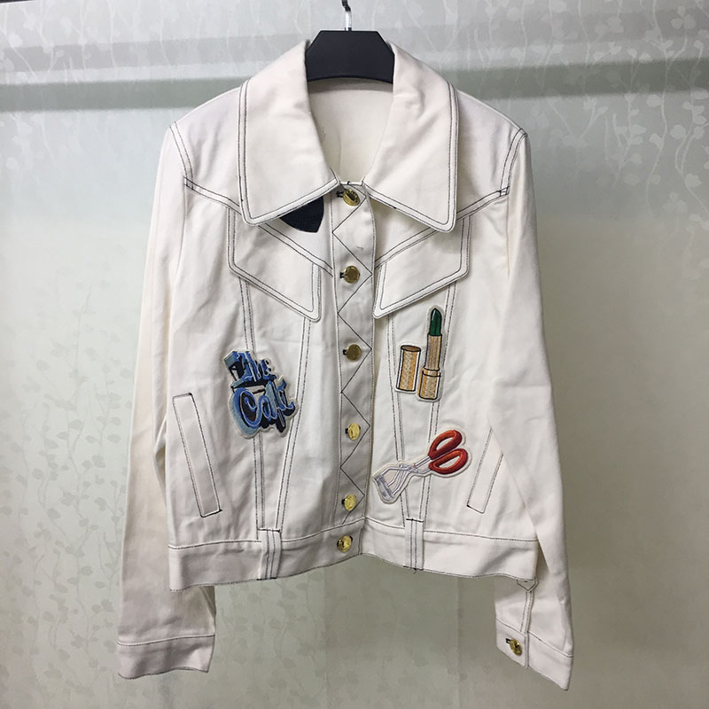 White Jacket Women 2019 Spring Embroidery Ladies Casual Elegant Female Fashion Coat