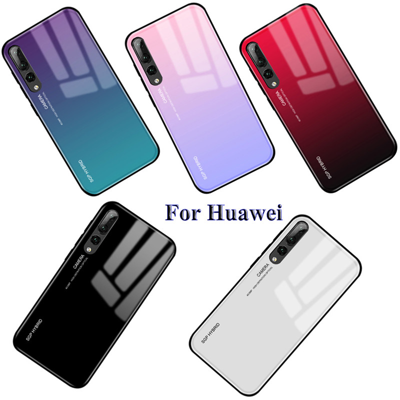 <font><b>Glass</b></font> <font><b>Case</b></font> For <font><b>Huawei</b></font> P20 lite P20 Pro P30 Mate 20 <font><b>P10</b></font> Plus Lite Nova 3 3i Honor 8X Max 10 9 Lite Gradient Tempered <font><b>Glass</b></font> <font><b>Cases</b></font> image