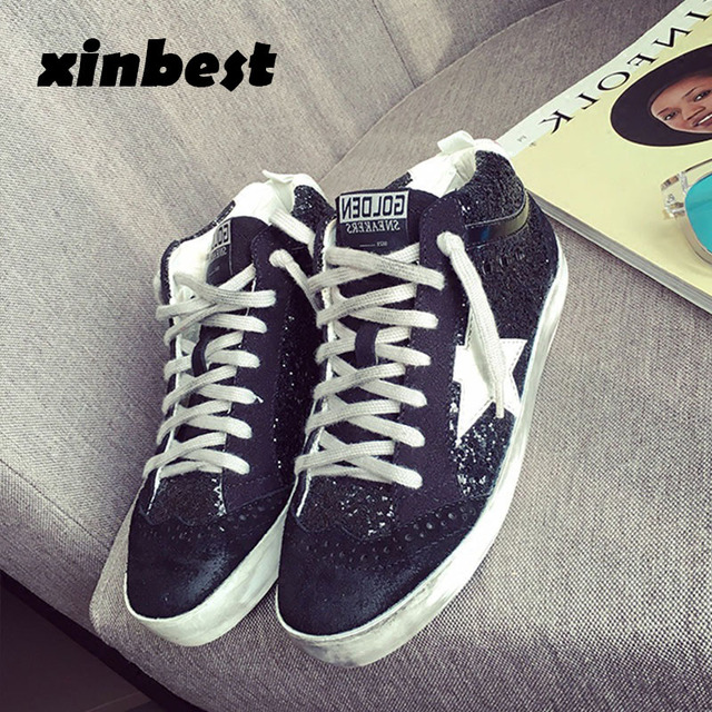 583b8af05c 2018 Xinbest Skateboarding Shoes Do Old Dirty Women Sneakers Glitter Canvas  Shoes Sequins Star Gold Sport Shoes For Women Brand