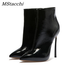 MStacchi Sexy Boots High Heels Boots Woman 2019 Spring Autumn Boots For Women 12cm Ankle