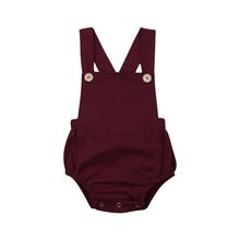 7 Colors 0-3T Newborn Toddler Unisex Baby Bodysuit Solid Color Sleeveless Backless Strap Button Summer Casual Cute Clothes