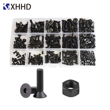 Hex Flat Socket Head Machine Screw Metric Thread Allen Countersunk Hexagon Bolt Screw Nut Set Assortment Kit Box Black M3 M4 M5 hex socket head cap screw hexagon metric thread machine allen bolt nut black set assortment kit alloy steel 12 9class m3 m4 m5