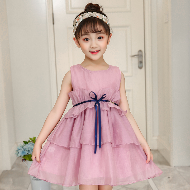 Princess Girl Child Dress Summer A-Line Dress For Teenager Bow Toddler Girls Birthday Party Dress Pink Kids Clothes New 2018