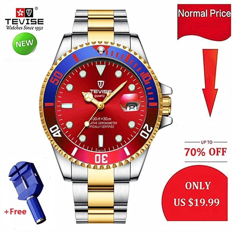 TEVISE relojes hombres reloj de acero inoxidable de los hombres de cuarzo de moda de marca de lujo reloj impermeable Casual para hombre reloj 2019
