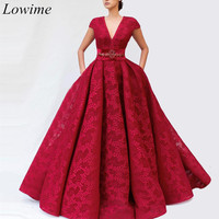Burgundy Couture Lace Celebrity Dresses 2019 A Line V Neck Cap Sleeves Long Red Carpet Gowns With Pearls Sashes Robe De Soiree