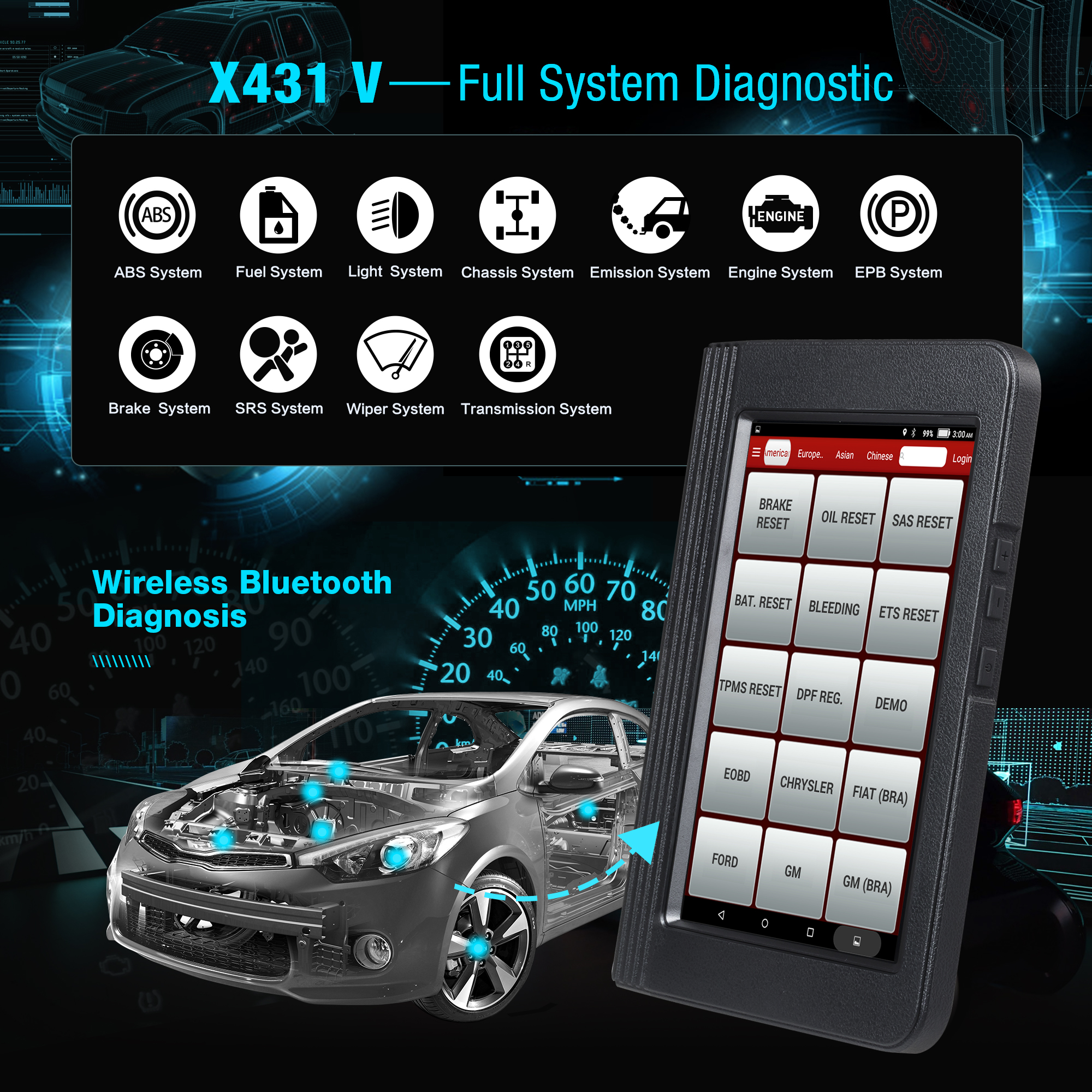 Image 2 - Launch X431 V 8inch Car full system OBD2 Scanner Diagnostic Auto Tool OBDII Code Reader support Bluetooth/Wifi Multi language-in Multimeters & Analyzers from Automobiles & Motorcycles