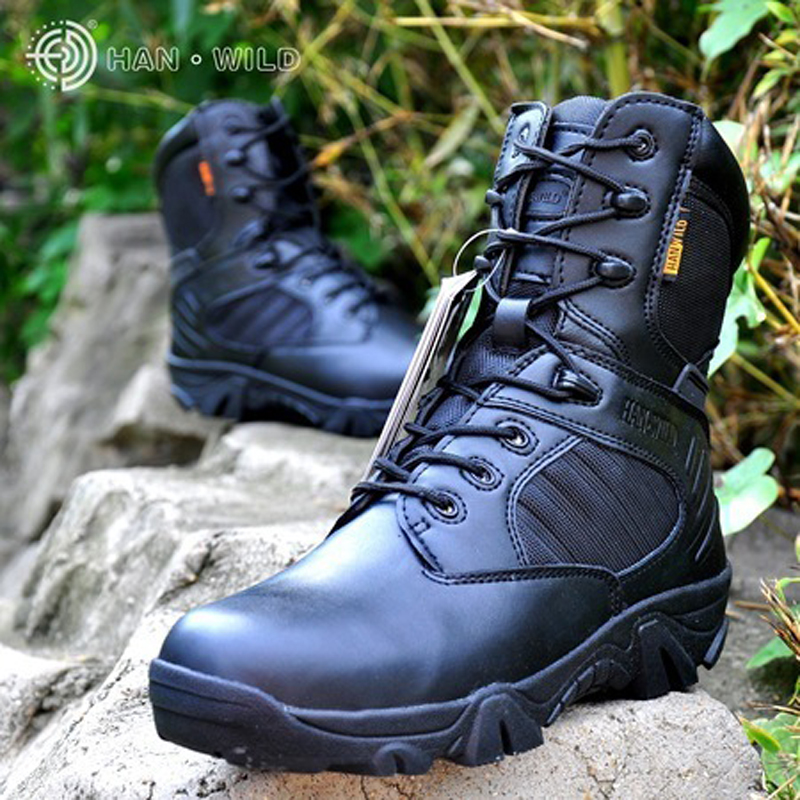 2017 New Tactical Army Boots Mens High Top Safety Shoes Ankle Boots For Men Leather Lace Up Front Military Combat Boots military combat boots rubber bottom tactical boots lace up outdoor shoes men 11 autumn winter men leather working safety boots