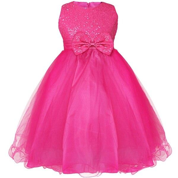 Детское платье до колена с блестками и цветочным узором для девочек возрастом от 2 до 14 лет Детские Вечерние платья на свадьбу, бальное платье, платье принцессы на выпускной, торжественное платье для девочек - Цвет: Rose
