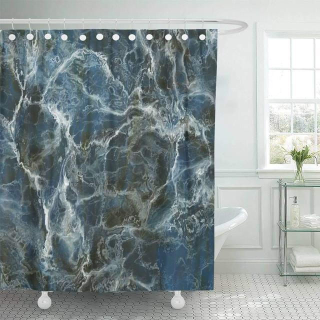 Fabric Shower Curtain With Hooks Granite Detailed Blue Marble Stone Natural Slate Rock Closeup Macro Black Floor