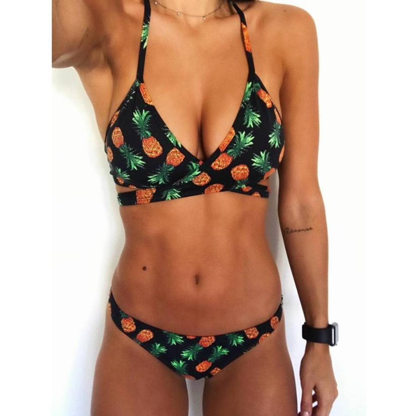 Casual Fashion Women Swimwear 2018 Sexy Womens Pineapple Print Bra Sets Two Piece Swimsuits Swimwears Beach Suit a27 drop