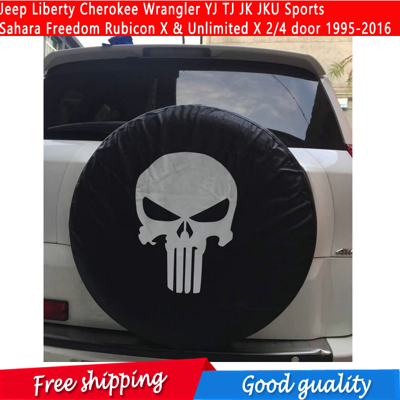 Spare Tire Cover with Logo For Jeep Liberty Cherokee Wrangler YJ TJ JK JKU Sports Sahara Freedom Rubicon X Unlimited X 2/4 dooR ...