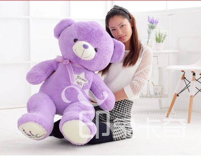 stuffed animal 100 cm lavender teddy bear plush toy lovely bear doll w2179