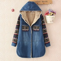 Women Denim Jacket Winter Cute Girls Print Lambs Wool Denim Coat Tops Warm Long Cotton Padded Hooded Jeans Jacket Female