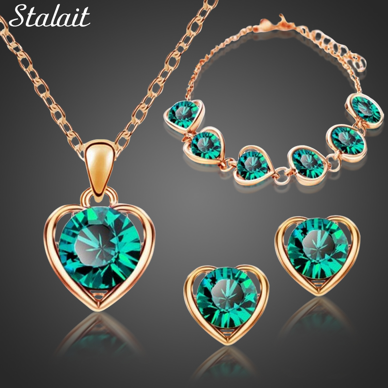 Fashion Gold Color Green Crystal Necklace Pendant Earrings Bracelet Heart Jewelry Set For Women Christmas Party Jewelry