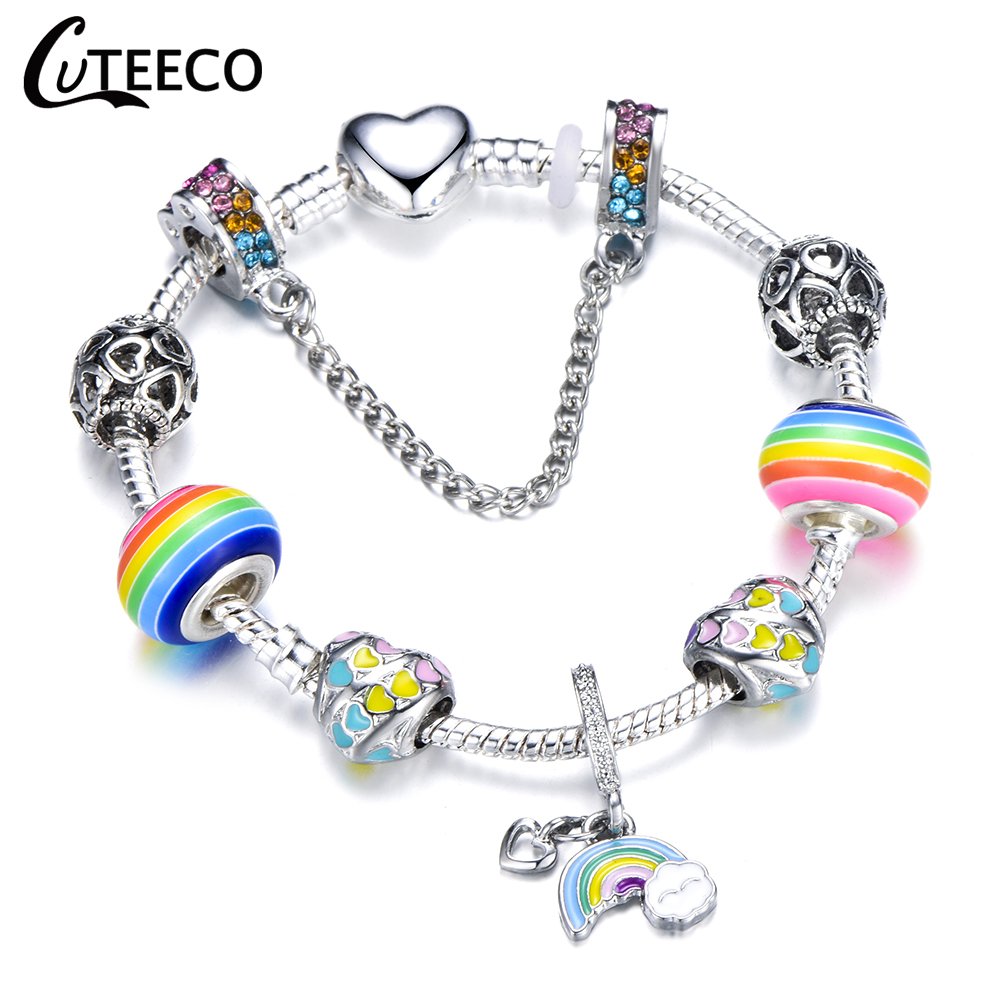 CUTEECO 925 Fashion Silver Charms Bracelet Bangle For Women Crystal Flower Fairy Bead Fit Brand Bracelets Jewelry Pulseras Mujer 25