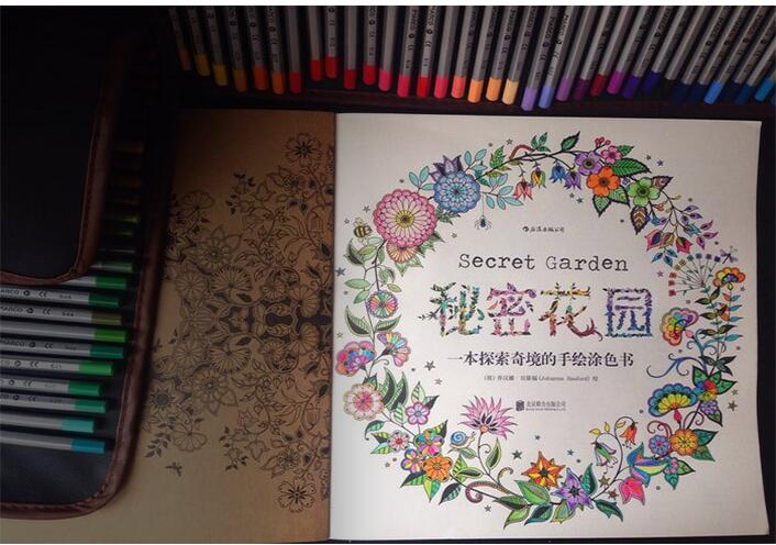 The Good News4 PCS Books Secret Garden Decompression Hand Painted Color In Coloring Book For Free 12 Pencils From Office School Supplies