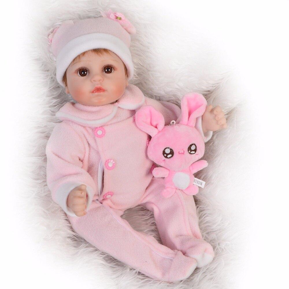 Peluche lapin cadeau avec Reborn bébé poupée 3/4 Silicone Simulation poupées jouets 43 cm réaliste bébé poupée pour infantile filles garçons cadeau B6