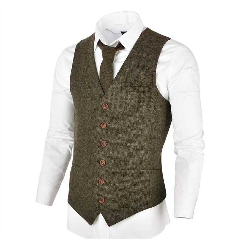 VOBOOM Khaki Tweed Mens Vest Suit Slim Fit Wool Blend Single Breasted Herringbone Waistcoat Men Waist Coat For Man 007