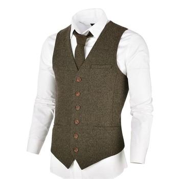 VOBOOM Khaki Tweed Mens Vest Suit Slim Fit Wool Blend Single Breasted Herringbone Waistcoat Men Waist Coat for Man 007