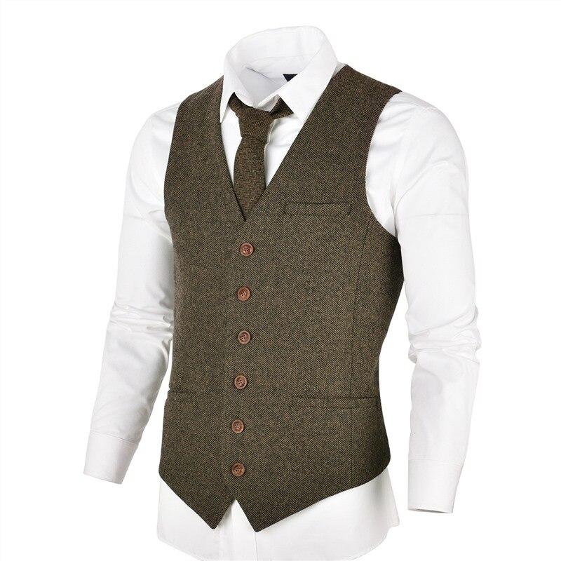 VOBOOM kaki Tweed hommes gilet costume Slim Fit laine mélange simple boutonnage chevrons gilet hommes taille manteau pour homme 007
