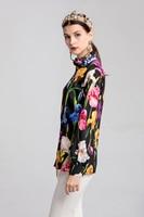 New Arrival Women's Runway Shirts Ruffles Long Sleeves Floral Printed Designer Fashion Shirts