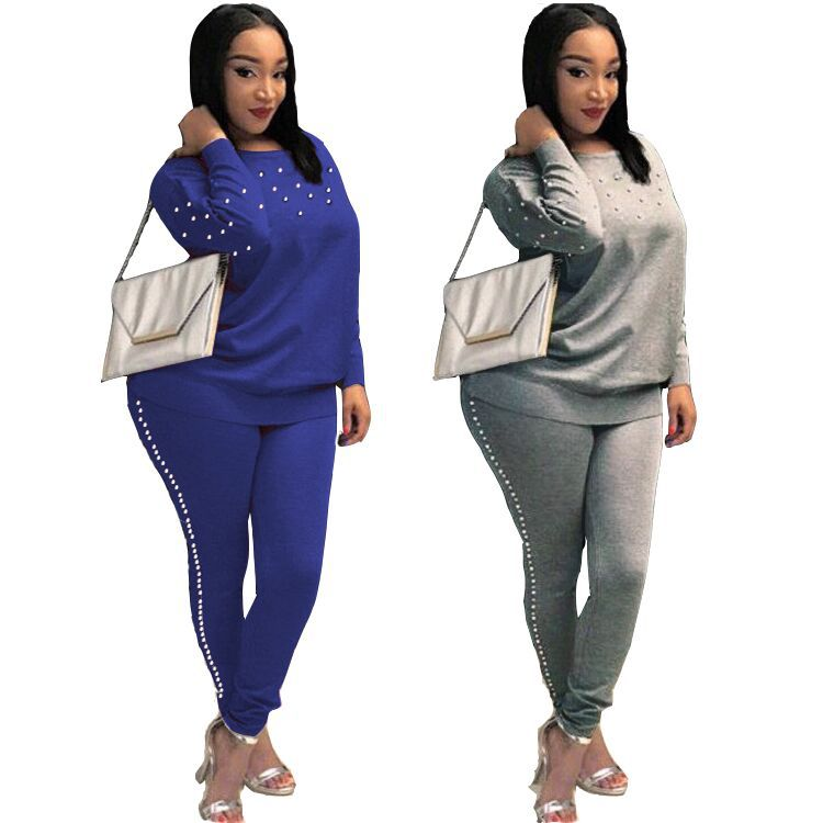Women's Tracksuits 2 Piece Set Pearling Crop Top And Pants Fashion 2018 Autumn Casual Lady Tumblr Long Sleeve Hoodies Pants Suit
