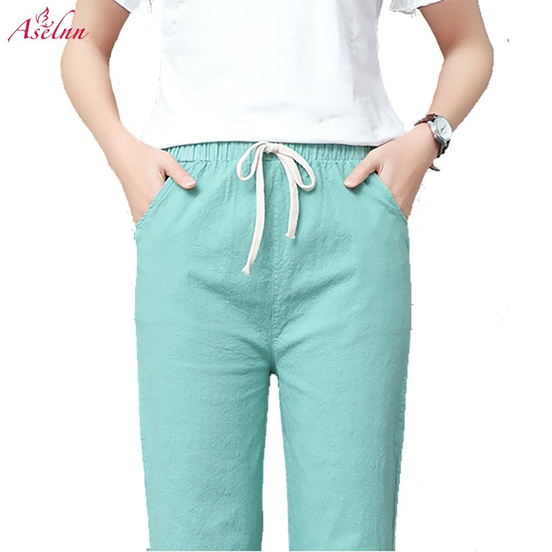 Aselnn 2018 Spring Summer Linen Pants For Women Slim Thin Casual Harem Pants Elastic Waist Trousers Female Pantalon Mujer