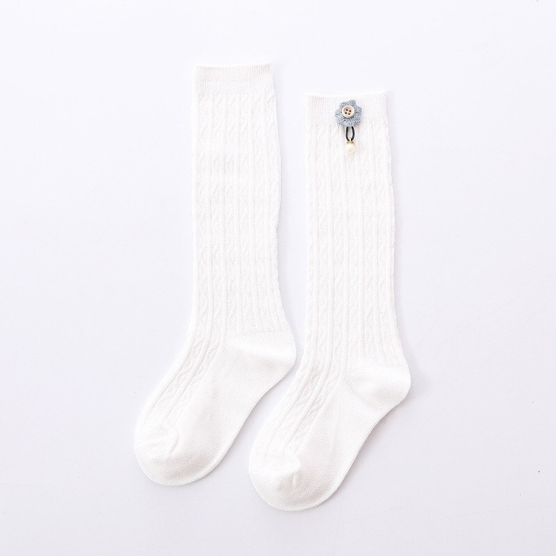 Cute Kids Knee High Socks for  Girls Baby Girls Exquisite Flower Cotton Princess Long Sock Children's Leg Warmer 1-5 Years 4
