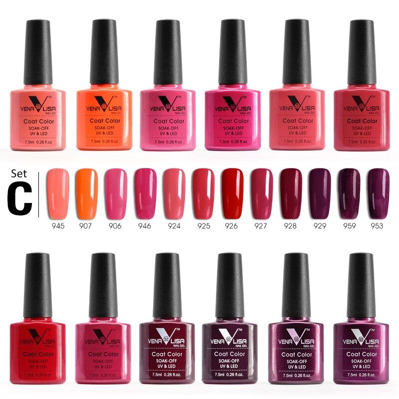 12 шт. * 7,5 мл в наборе гель для ногтей VENALISA Быстрая доставка 60 цветов гель для ногтей Soak Off UV светодио дный LED Nail гель-лак