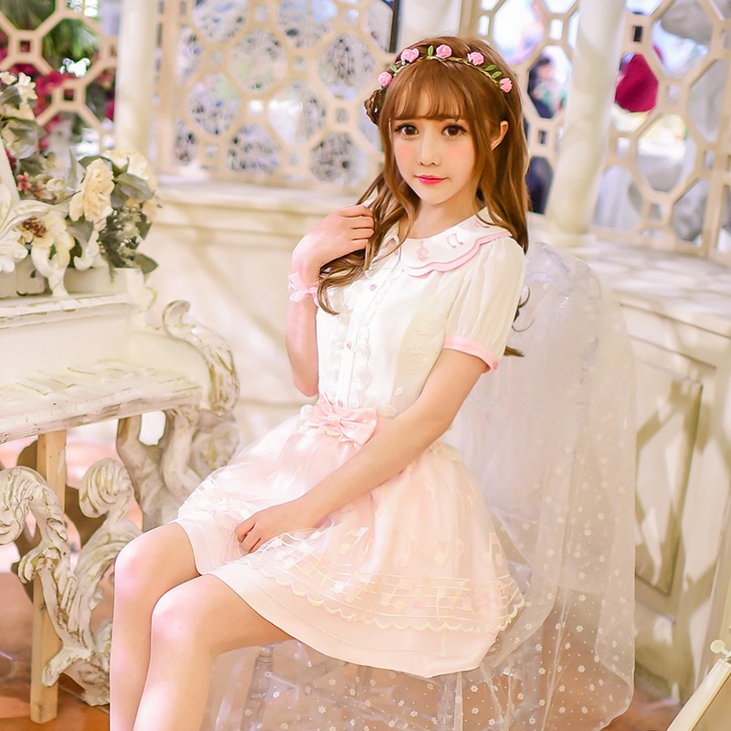Princess sweet lolita shirt  candy rain original sweet embroidered chiffon shirt skirt suit notes female C16AB6043