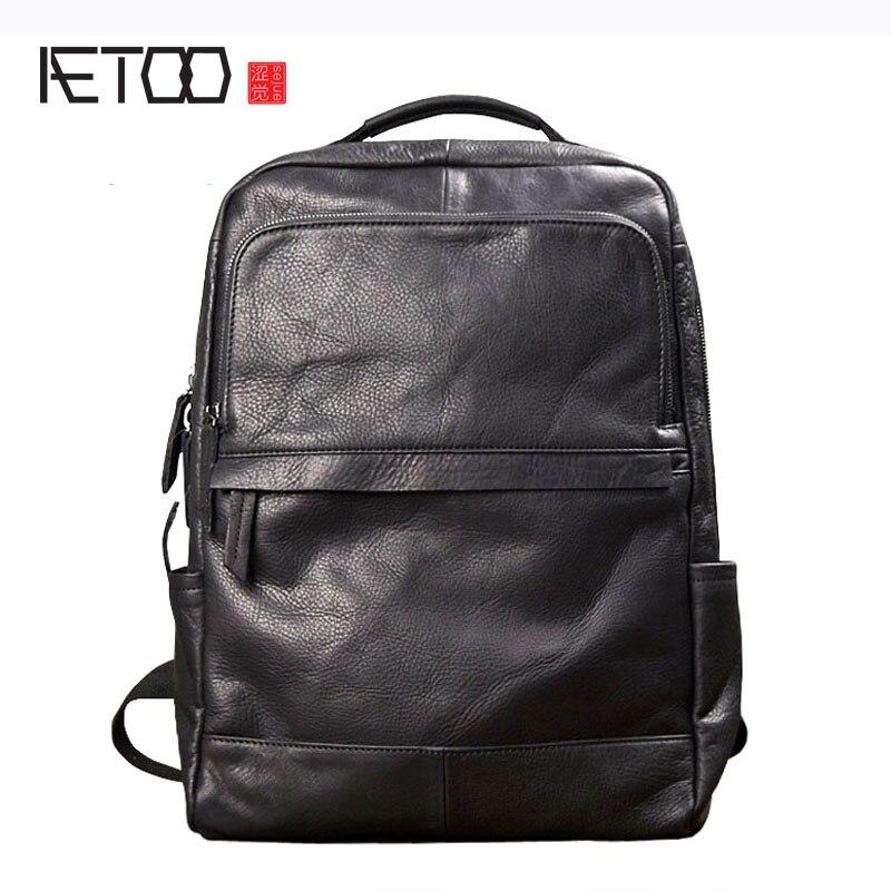 AETOO Homens tendência da moda mochila bolsa de ombro masculino saco de couro bolsa de viagem Coreano personalidade casual masculino saco de couro preto