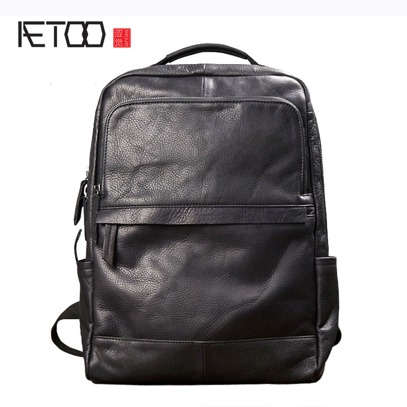 AETOO Men fashion trend backpack shoulder bag male leather Korean travel bag black leather personality casual male bag aetoo retro leatherbackpack bag male backpack fashion trend new leather travel bag