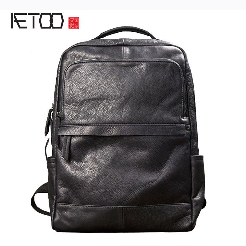 Aetoo Для мужчин модный современный рюкзак сумка мужской кожаный корейский сумка черная кожа личности повседневная мужская сумка