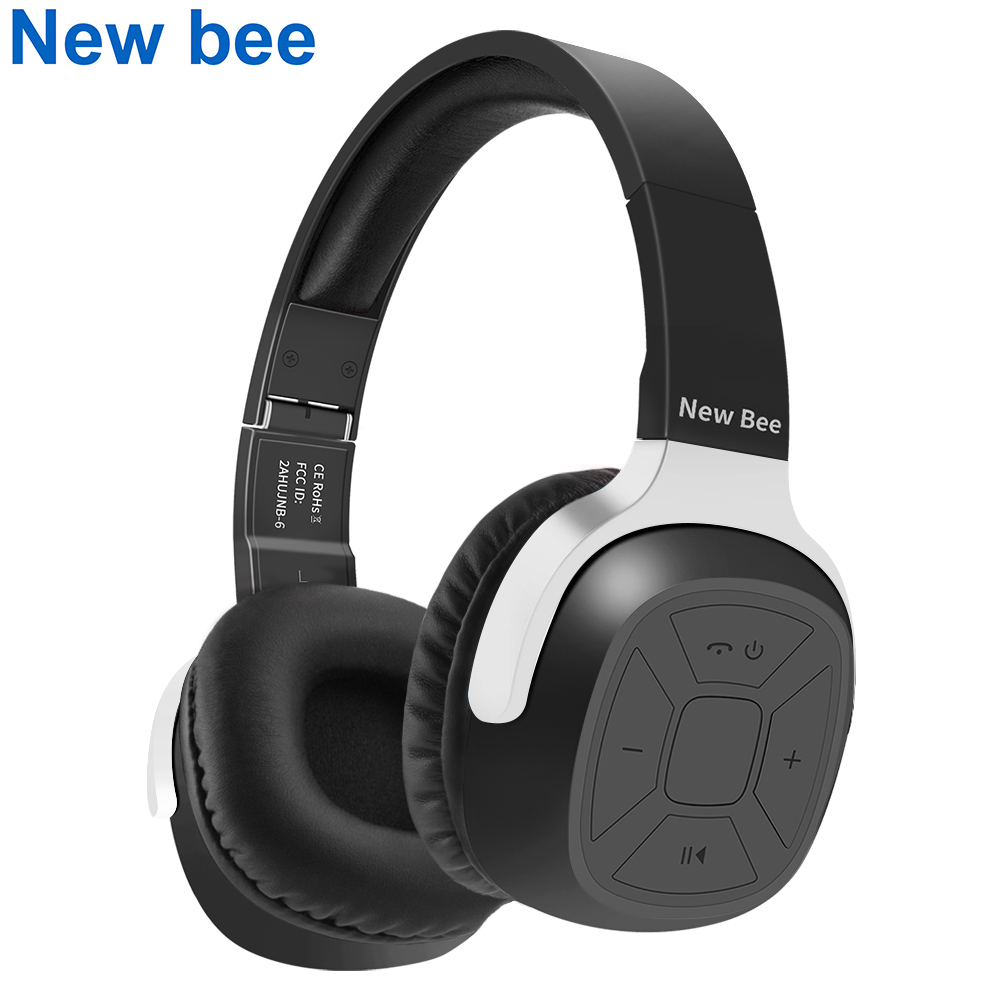 New Bee Wireless Bluetooth Headphones Wired Foldable Stereo Headset Sport Earphone With Microphone NFC For Computer Phone TV new bee nb 6 foldable bluetooth headset red