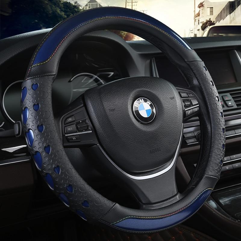 KKYSYELVA Steering-Wheel Black Car Sport Steering Wheel Cover Leather Steering Covers Universal 38CM wheel cover
