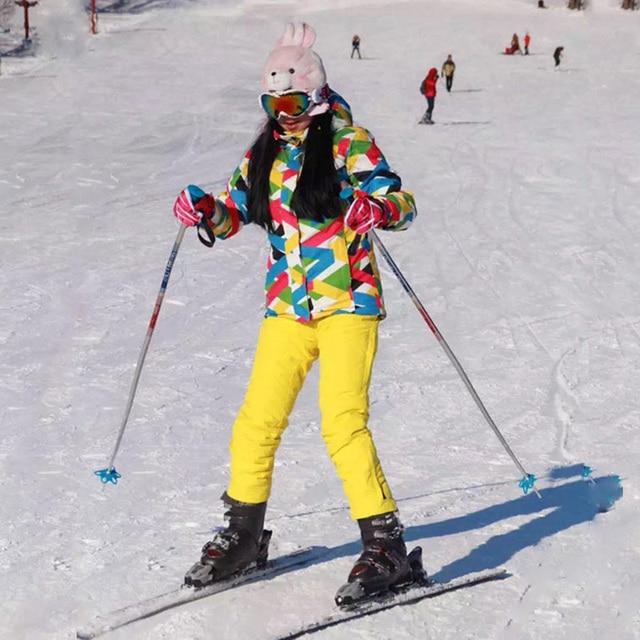 Лыжный костюм Для женщин брендов Высокое качество женские зимние брюки ветрозащитный Водонепроницаемый красочные одежды Зимний комплект сноуборд куртка Для женщин лыжный