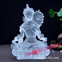 The ancient glass Buddha glazed White Tara Buddha Tantric Buddha glazed glass