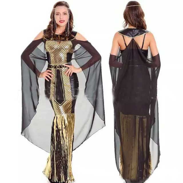 b81e4adec926 2018 New High-Quality Sexy Greek Goddess Cleopatra Cosplay Costume Black  Dress for Queen of Egypt Halloween Party