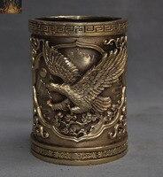 wedding decoration Chinese Fengshui Brass Copper Eagle Hawk Statue Brush Pot pencil vase jar