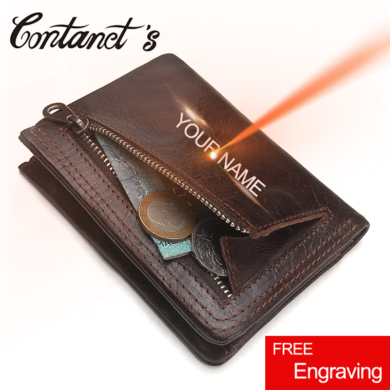 Contact's Men Casual Wallet Small Genuine Leather Wallets Slim Short Coin Purse Luxury Brand Pocket Day Clutches Vintage Style 2017 new wallet small coin purse short men wallets genuine leather men purse wallet brand purse vintage men leather wallet page 5