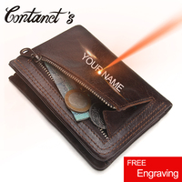 Contact S Men Casual Wallet Small Genuine Leather Wallets Slim Short Coin Purse Luxury Brand Pocket